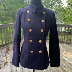 J Crew Stadium Cloth Peacoat With Gold Buttons